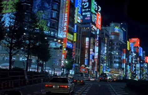 GIF city lights lost in translation driving - animated GIF