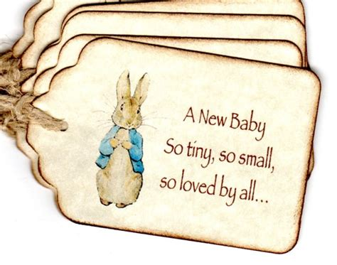Items similar to 20 Baby Shower Favor Tags, Peter Rabbit