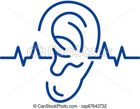 Hearing test line icon concept