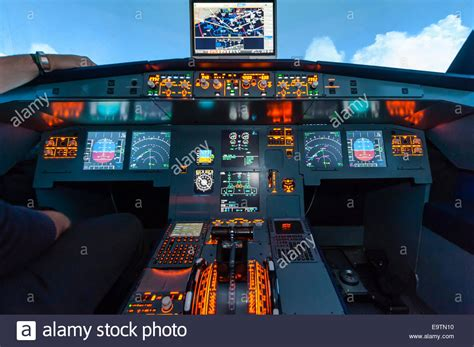 Cockpit of an Airbus A320 flight simulator that is used