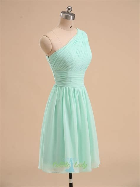 Mint green one-shoulder pleated short bridesmaid dress