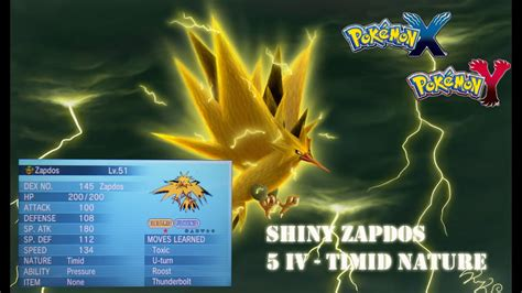 Shiny Zapdos 5 IV - Timid nature - Giveaway Contest